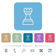 White chess rook white flat icons on color rounded square backgrounds. 6 bonus icons included - White chess rook flat icons on color rounded square backgrounds - Large thumbnail