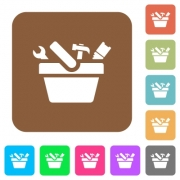 Toolbox flat icons on rounded square vivid color backgrounds. - Toolbox rounded square flat icons - Large thumbnail