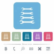Set of wrenches white flat icons on color rounded square backgrounds. 6 bonus icons included - Set of wrenches flat icons on color rounded square backgrounds - Large thumbnail