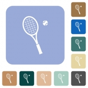 Tennis racket with ball white flat icons on color rounded square backgrounds - Tennis racket with ball rounded square flat icons