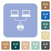 Network printing white flat icons on color rounded square backgrounds - Network printing rounded square flat icons