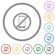 Smartphone not allowed flat color icons in round outlines on white background - Smartphone not allowed flat icons with outlines