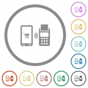 Mobile payment flat color icons in round outlines on white background - Mobile payment flat icons with outlines