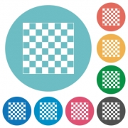 Chess board flat white icons on round color backgrounds