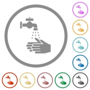 Hand washing flat color icons in round outlines on white background - Hand washing flat icons with outlines - Large thumbnail