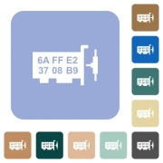 Network mac address white flat icons on color rounded square backgrounds - Network mac address rounded square flat icons
