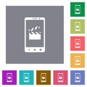 Smartphone film cut flat icons on simple color square backgrounds - Smartphone film cut square flat icons
