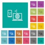 Share mobile internet multi colored flat icons on plain square backgrounds. Included white and darker icon variations for hover or active effects. - Share mobile internet square flat multi colored icons
