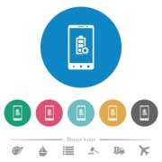Mobile battery settings flat white icons on round color backgrounds. 6 bonus icons included. - Mobile battery settings flat round icons