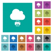 Cloud printing multi colored flat icons on plain square backgrounds. Included white and darker icon variations for hover or active effects. - Cloud printing square flat multi colored icons