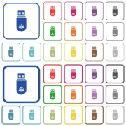 USB wifi dongle color flat icons in rounded square frames. Thin and thick versions included. - USB wifi dongle outlined flat color icons