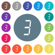 digital number three of seven segment type flat white icons on round color backgrounds. 17 background color variations are included. - digital number three of seven segment type flat white icons on round color backgrounds - Large thumbnail