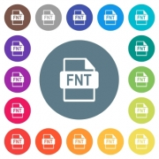 FNT file format flat white icons on round color backgrounds. 17 background color variations are included. - FNT file format flat white icons on round color backgrounds - Large thumbnail