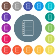 Notepad flat white icons on round color backgrounds. 17 background color variations are included. - Notepad flat white icons on round color backgrounds - Large thumbnail