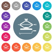 Car jack with crank flat white icons on round color backgrounds. 17 background color variations are included. - Car jack with crank flat white icons on round color backgrounds - Large thumbnail