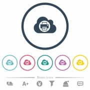 Cloud printing flat color icons in round outlines. 6 bonus icons included. - Cloud printing flat color icons in round outlines