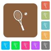 Tennis racket with ball flat icons on rounded square vivid color backgrounds. - Tennis racket with ball rounded square flat icons