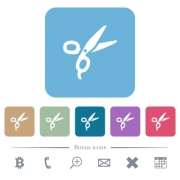 Barber scissors white flat icons on color rounded square backgrounds. 6 bonus icons included - Barber scissors flat icons on color rounded square backgrounds - Large thumbnail
