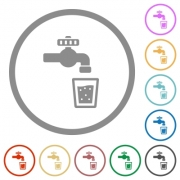Drinking water flat color icons in round outlines on white background - Drinking water flat icons with outlines