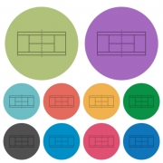 Tennis court darker flat icons on color round background - Tennis court color darker flat icons - Large thumbnail