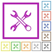 Two wrenches flat color icons in square frames on white background - Two wrenches flat framed icons - Large thumbnail