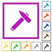 Old hammer flat color icons in square frames on white background - Old hammer flat framed icons - Large thumbnail