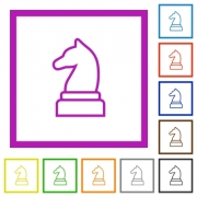 White chess knight flat color icons in square frames on white background - White chess knight flat framed icons - Large thumbnail