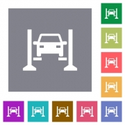 Car service flat icons on simple color square backgrounds - Car service square flat icons - Large thumbnail