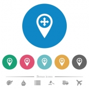 Move GPS map location flat white icons on round color backgrounds. 6 bonus icons included. - Move GPS map location flat round icons - Large thumbnail