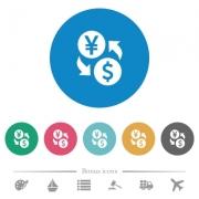 Yen Dollar money exchange flat white icons on round color backgrounds. 6 bonus icons included. - Yen Dollar money exchange flat round icons - Large thumbnail