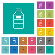 Water bottle with label multi colored flat icons on plain square backgrounds. Included white and darker icon variations for hover or active effects. - Water bottle with label square flat multi colored icons - Large thumbnail