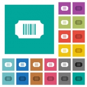 Ticket with barcode multi colored flat icons on plain square backgrounds. Included white and darker icon variations for hover or active effects. - Ticket with barcode square flat multi colored icons - Large thumbnail