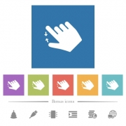 Right handed pinch close gesture flat white icons in square backgrounds. 6 bonus icons included. - Right handed pinch close gesture flat white icons in square backgrounds