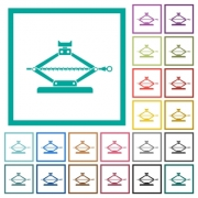 Car jack flat color icons with quadrant frames on white background - Car jack flat color icons with quadrant frames