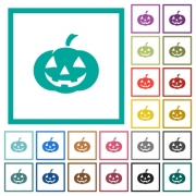 Halloween pumpkin flat color icons with quadrant frames on white background - Halloween pumpkin flat color icons with quadrant frames - Large thumbnail