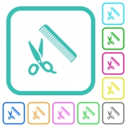 Comb and scissors vivid colored flat icons in curved borders on white background - Comb and scissors vivid colored flat icons