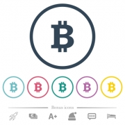 Bitcoin sign flat color icons in round outlines. 6 bonus icons included. - Bitcoin sign flat color icons in round outlines