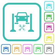 Car service vivid colored flat icons in curved borders on white background - Car service vivid colored flat icons - Large thumbnail