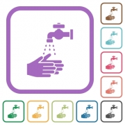 Hand washing simple icons in color rounded square frames on white background - Hand washing simple icons - Large thumbnail