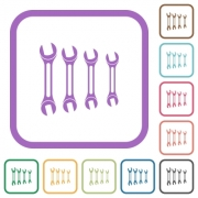 Set of wrenches simple icons in color rounded square frames on white background - Set of wrenches simple icons - Large thumbnail