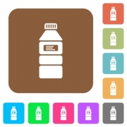 Water bottle with label flat icons on rounded square vivid color backgrounds. - Water bottle with label rounded square flat icons - Large thumbnail