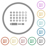 Set of screwdriver bits flat color icons in round outlines on white background - Set of screwdriver bits flat icons with outlines - Large thumbnail