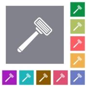 Razor flat icons on simple color square backgrounds - Razor square flat icons - Large thumbnail