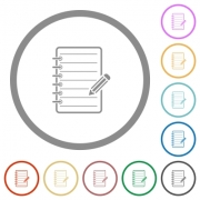 Spiral notepad with pencil flat color icons in round outlines on white background - Spiral notepad with pencil flat icons with outlines - Large thumbnail