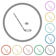 Hockey stick and puck flat color icons in round outlines on white background - Hockey stick and puck flat icons with outlines - Large thumbnail