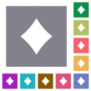 Diamond card symbol flat icons on simple color square backgrounds - Diamond card symbol square flat icons - Large thumbnail