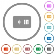 NFC chip card flat color icons in round outlines on white background - NFC chip card flat icons with outlines - Large thumbnail