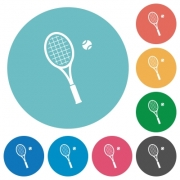 Tennis racket with ball flat white icons on round color backgrounds - Tennis racket with ball flat round icons - Large thumbnail