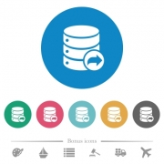Database transaction commit flat white icons on round color backgrounds. 6 bonus icons included. - Database transaction commit flat round icons - Large thumbnail