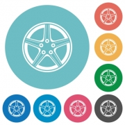 Alloy wheel flat white icons on round color backgrounds - Alloy wheel flat round icons - Large thumbnail